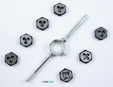 """8 pc Thread Die Set and Tap Wrench Handle Cutting Tool SAE 1/4"""" 5/16"""" 3/8"""" 7/16"""""""