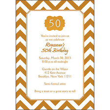 25 Personalized 50th Birthday Party Invitations  - BP-038 Gold Chevron
