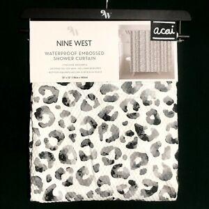 "New NINE WEST 9W Waterproof Embossed Shower Curtain w/ Gray Leopard Print 70x72"""