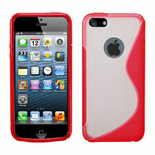 iPhone 5 5S SE TPU Gummy S-Line Flexi Skin Case Phone Cover Red Clear S-Shape