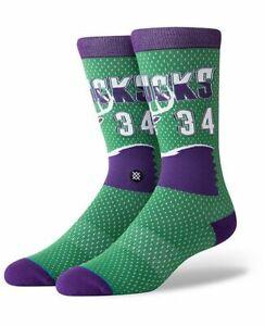 Ray Allen Stance Socks Milwaukee Bucks 34 Purple Green Size Medium 6-8.5 HWC
