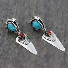 Vintage Bohemian 925 Silver Filled Women Turquoise/Ruby Stud Earrings Wedding