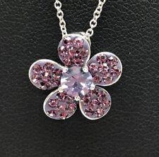 "Sterling Silver 925 Enamel Purple Amethyst Cluster Flower Petals Necklace 18"""