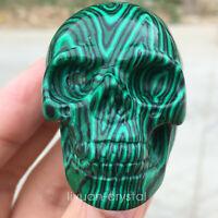 2''  Malachite Quartz Crystal Skull Carved Skull Reiki Healing 1pc