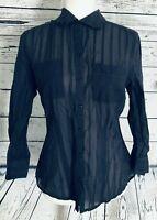 Ann Taylor Loft Women's Size 8 Blouse Long Sleeves Semi Sheer Button Down