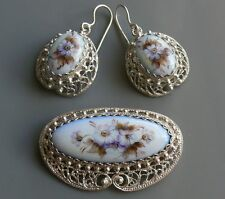 & Filigree hot enamel handmade Russia Sterling Silver Brooch and Earrings Finift