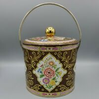 Vintage Biscuit Tin Designed By Daher Metal Container w/ Handle Made In England