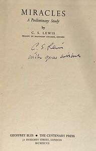 Miracles, Signed By C.S. Lewis ,1st/1st