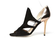 Jimmy Choo London Black Suede Peep Toe Heels 6330 Size 34 EU