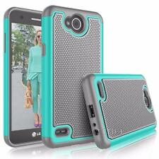 LG X Power 2 Rubber Dual Layer Impact Shockproof Hybrid Armor Case - Teal / Gray