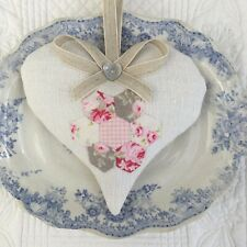1 FRENCH VINTAGE LINEN & TILDA Lavender Filled Fabric Heart COUNTRY INTERIOR
