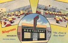 WAYCROSS RESTAURANT Waycross, Georgia Roadside c1940s Vintage Linen Postcard