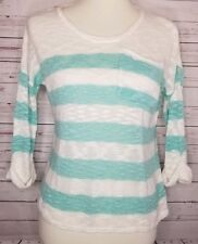 527b05b858 Maurices Small White Mint Green Striped Light Sweater 3 4 Sleeve Pocket
