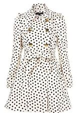 Topshop Nude Noir Polka Dot Pois Vintage 50 S trench-coat MAC nœud dos taille 6 XS