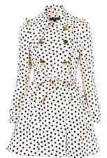 Topshop Nude Black Polka Dot Spotty VTG 50s Trench Coat Mac Bow Back Size 6 XS