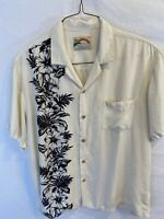 Paradise Found Men's XL Rayon Camp Hawaiian Button Shirt Off White Floral -FLAWS