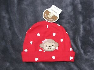 CARTERS RED PINK MONKEY HEART CHILD OF MINE VALENTINES DAY CAP HAT 0-3-6 REBORN