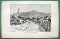 INDONESIA Java Village of Tjimatjan - 1890 Antique Print Engraving