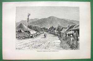 INDONESIA Java Village of Tjimatjan - 1890 Antique Print Engraving