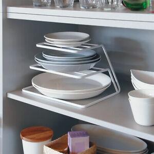 Kitchen 3 Tier Corner Plate Rack Cupboard Organiser Stacker Storage Stands White
