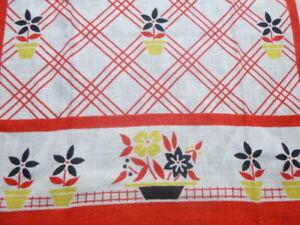 NOS Vtg Cannon Part Linen Tea Kitchen Towel Red Yellow Floral 16x26