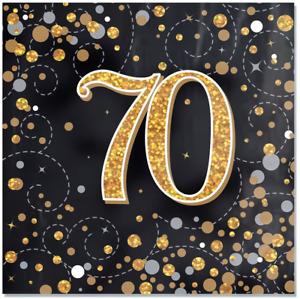 Black & Gold Sparkling Fizz 70th Birthday Napkins - Pack of 16