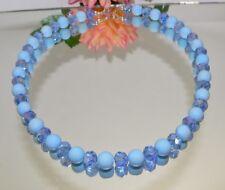 BEZAUBERNDE KETTE GLASPERLEN HELLBLAU  MATT RONDELLE Glas facettiert Blau 478d