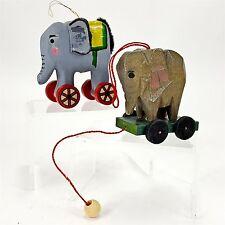 "Elephant Christmas Ornament Set 2 Wood Figures on Wheels & 2"" on Pull Cart Vtg"