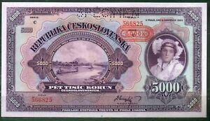 Czechoslovakia P-19 5000 Korun Specimen 1920 UNC Rare