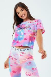 Hype Kids Rainbow Star Crop T-Shirt Multi-Coloured