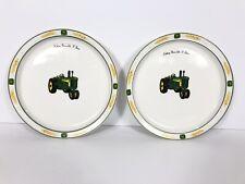 """John Deere Licensed Gibson Salad Plates """"Nothing Runs Like A Deere"""" Pair"""