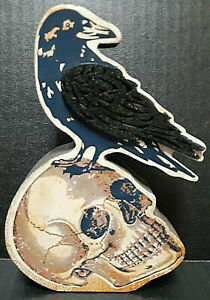 """SKULL & RAVEN 6.5"""" Wooden Halloween Table Top Decor by Ganz EH42731"""
