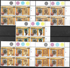JAMAICA 1988 CRICKET DIAMOND JUBILEE TOP RIGHT CORNER BLOCKS OF 4 - 5v MNH