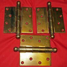 """3 ANTIQUE BRASS PLATED HEAVY 1/8 INCH STEEL DOOR HINGES~BALL TIP ~6-1/2""""X4-1/2"""""""
