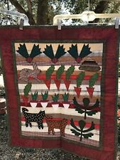 Machine Stitched Patchwork Garden Cat Rabbit Quilt Wall Hanging 25x29