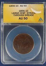1856 1c Braided Hair Large Cent Penny ANACS AU50 (G315)