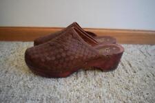 Vintage Woven Brown Leather Wood Platform Heels Size 9B Bianco