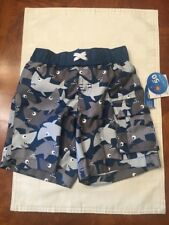 NWT-Infant Boys Wave Zone Blue And Gray Shark Print Swim Trunks-Size 24 Months
