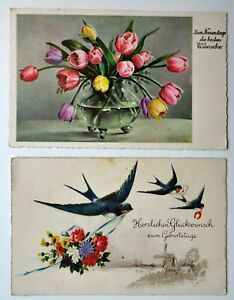 Germany Lot From 2 Postcards Congratulations to The Name Days & Birthday