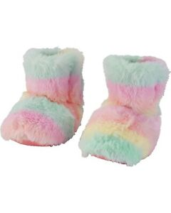 Carter's Girl's Rainbow Slippers Booties Faux Fur NEW Size: 3-4 XS 5-6 S 7-8 M