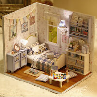 1 DIY Wooden Dolls house Miniature Kit w/Cover/LED Light Dollhouse Furniture Nv