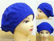 BLUE Fashion Unisex Oversize ZigZag Knit Baggy Beanie Slouch Hat Cap Warm Winter