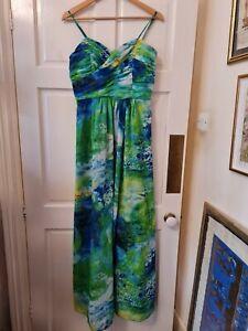 Fab unusual Oleg Cassini Designer Maxi cruise Dress Painting Abstract Print 10