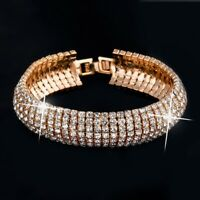 Luxurious Gold Plated Austrian Crystal Link Bracelet w/ Swarovski Elements