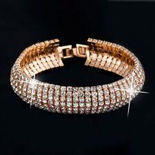 Luxurious Gold Plated Austrian Crystal Link Bracelet w/ Swarovski Elements