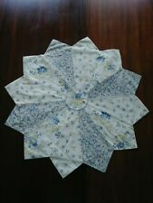 New listing Quilted Centerpiece Fancy Dresden Plate Off White Blue Flowers *V*