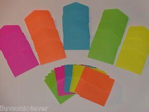 20 neon bright mini envelopes/cards PLEASE READ INSIDE, NOT GIFT CARD ENVELOPES