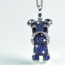 18K WHITE GOLD GP MADE WITH SWAROVSKI CZ BLUE SCHNAUZER PENDANT DOG NECKLACE