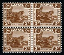 FEDERATED MALAY STATES 1925 2c Brown Tiger BLOCK Wmk Mult Script CA SG 54 MNH