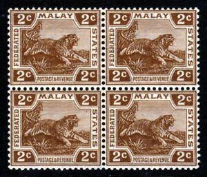 FEDERATED MALAY STATES 1925 2c Brown Tiger BLOCK Wmk Mult Script CA SG 54 MNH